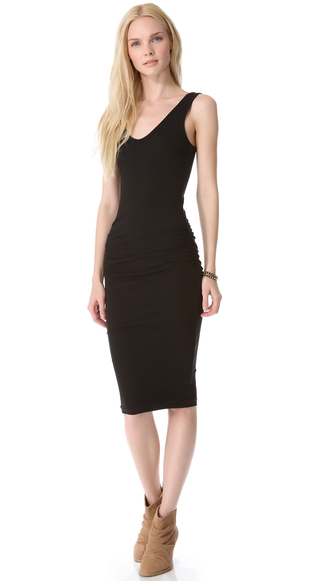 Lyst James Perse Skinny Ruched Tank Dress In Black