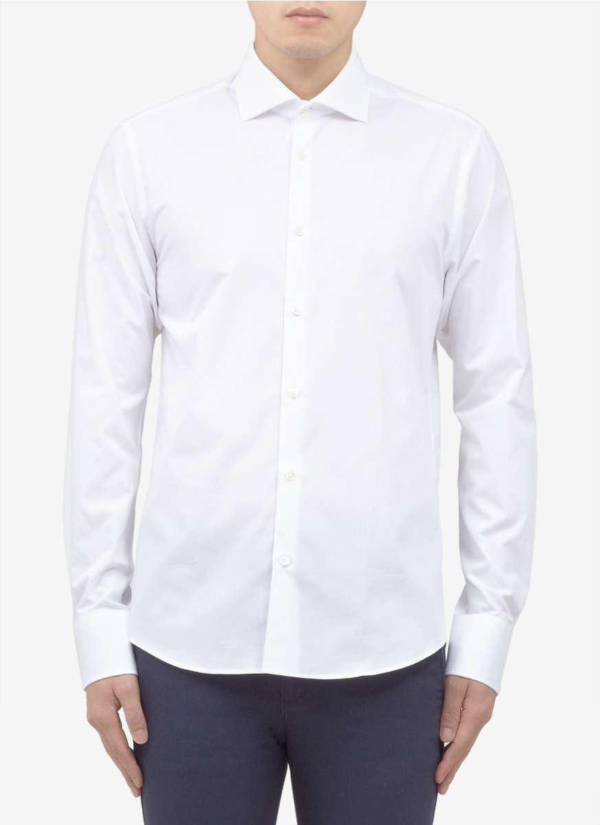 Scotch soda spread collar cotton shirt in white lyst for What is a spread collar shirt
