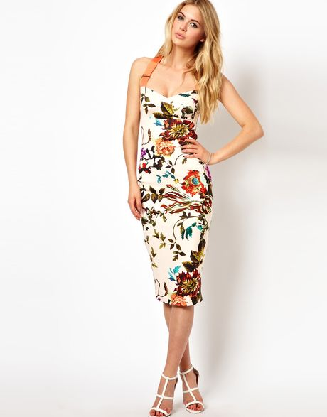 Ted Baker Floral Midi Dress With Contrast Straps In