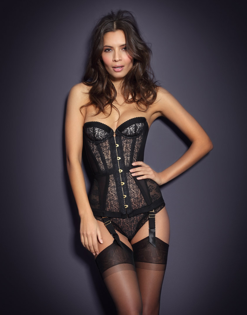 3fee95d2df Agent provocateur mercy lace and tulle corset in black lyst jpg 845x1079 Mercy  corset