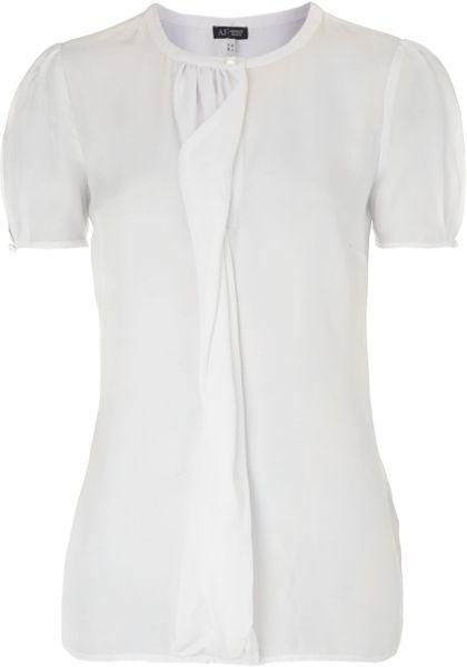 White Short Sleeve Ruffle Blouse 116