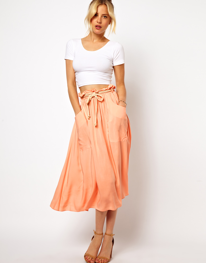 Asos Midi Skirt with Tie Waist in Orange | Lyst