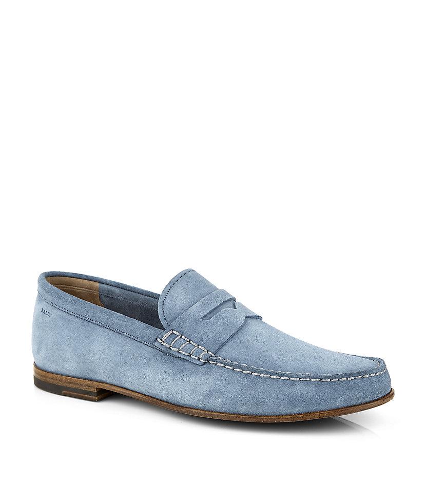 Mens leather gloves ugg - Bally Vedor Suede Loafer In Blue For Men Lyst