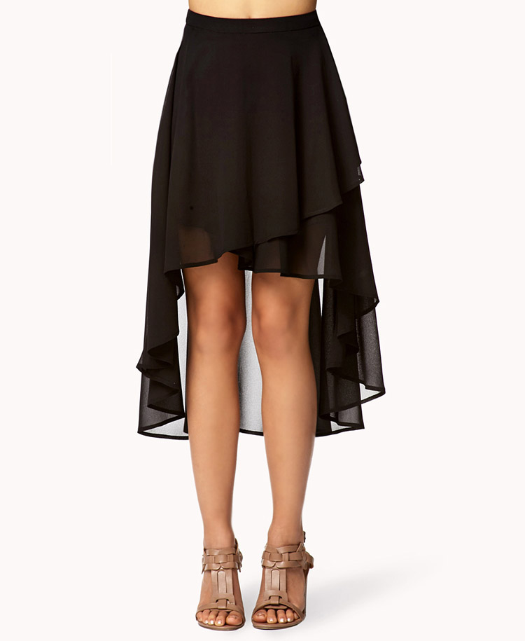 forever 21 tiered high low skirt in black lyst