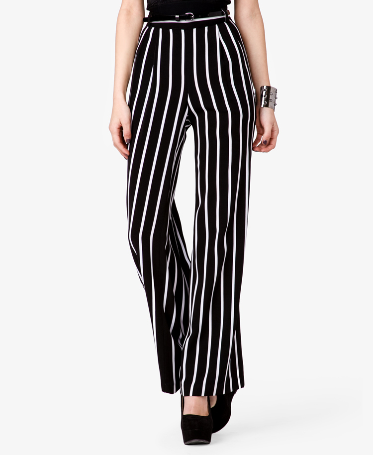 Lyst Forever 21 Striped Wide Leg Pants In Black