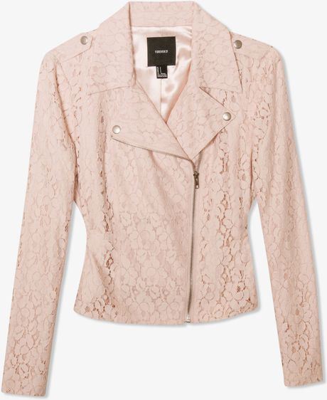 Forever 21 Lace Moto Jacket in Pink (blush)