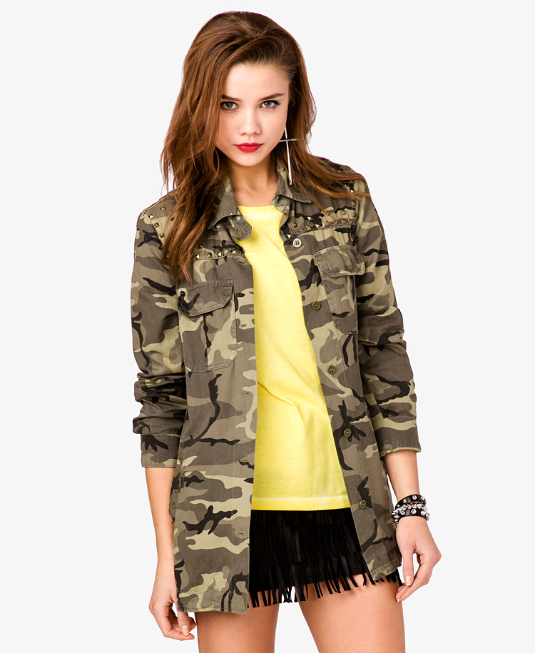 Forever 21 Studded Camo Military Jacket In Brown Brown