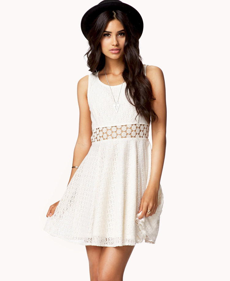 Forever 21 Crochet Panel Lace Dress In White Lyst