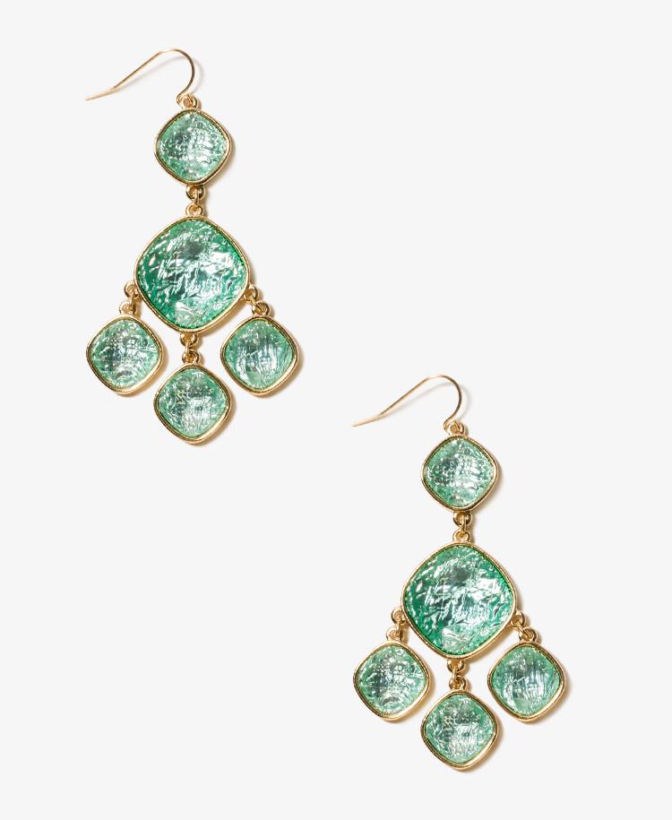 Forever 21 faux stone chandelier earrings in green mint for Forever 21 jewelry earrings