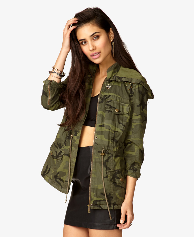 3928015056caf Forever 21 Hooded Spiked Camo Jacket in Green - Lyst