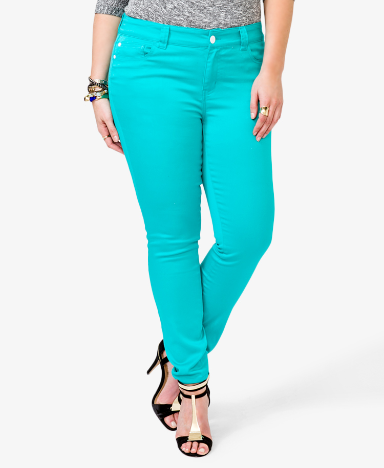 bbbc73d46ad03 Lyst - Forever 21 Colored Skinny Jeans in Blue