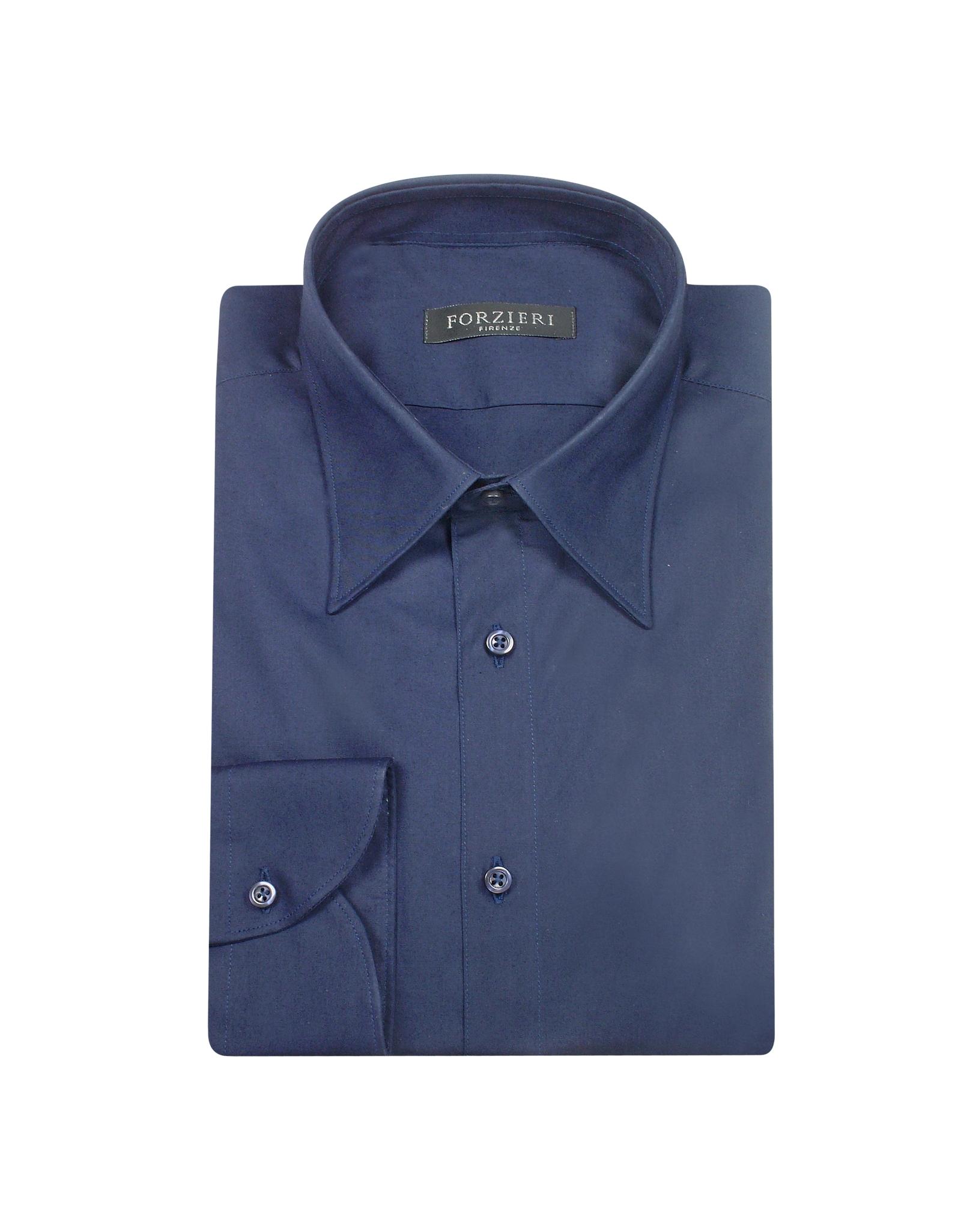 forzieri solid dark blue cotton italian slim dress shirt