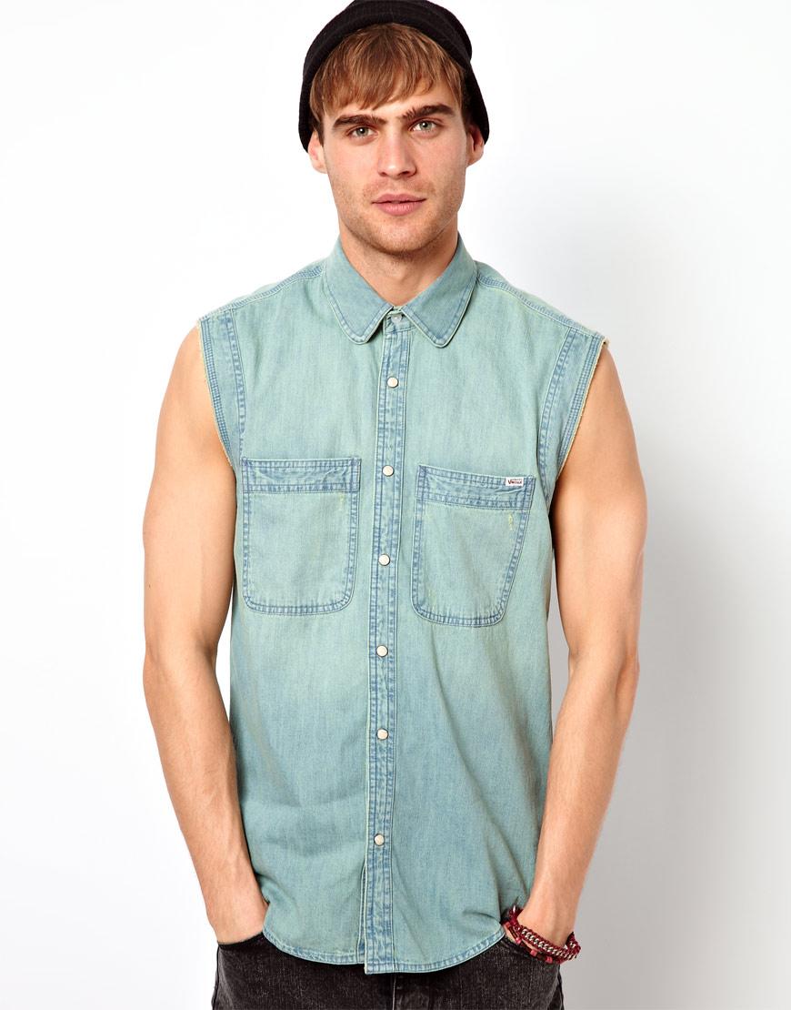 Short sleeve denim shirt for men custom shirt for Mens sleeveless denim shirt wholesale
