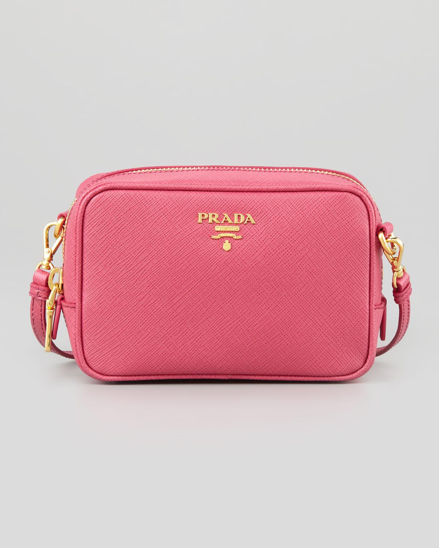 lyst prada saffiano mini zip crossbody bag in pink