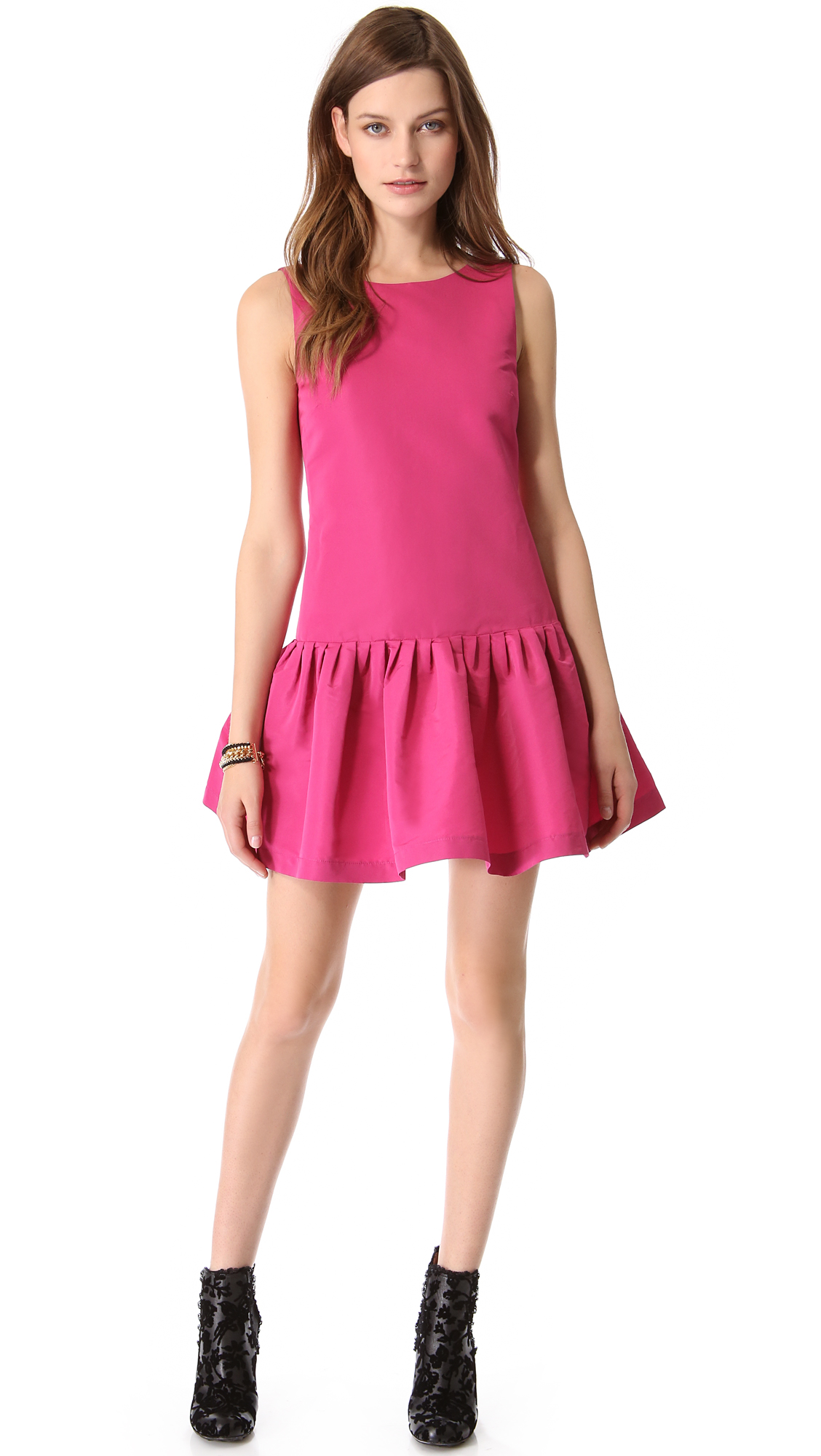 Red Valentino Spring 2016: Red Valentino Drop Waist Faille Dress In Pink