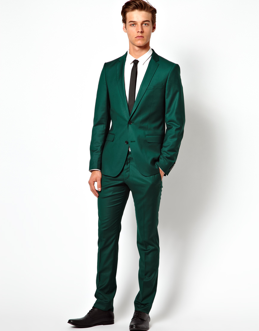Asos Selected Skinny Fit Suit Pants in Green for Men | Lyst