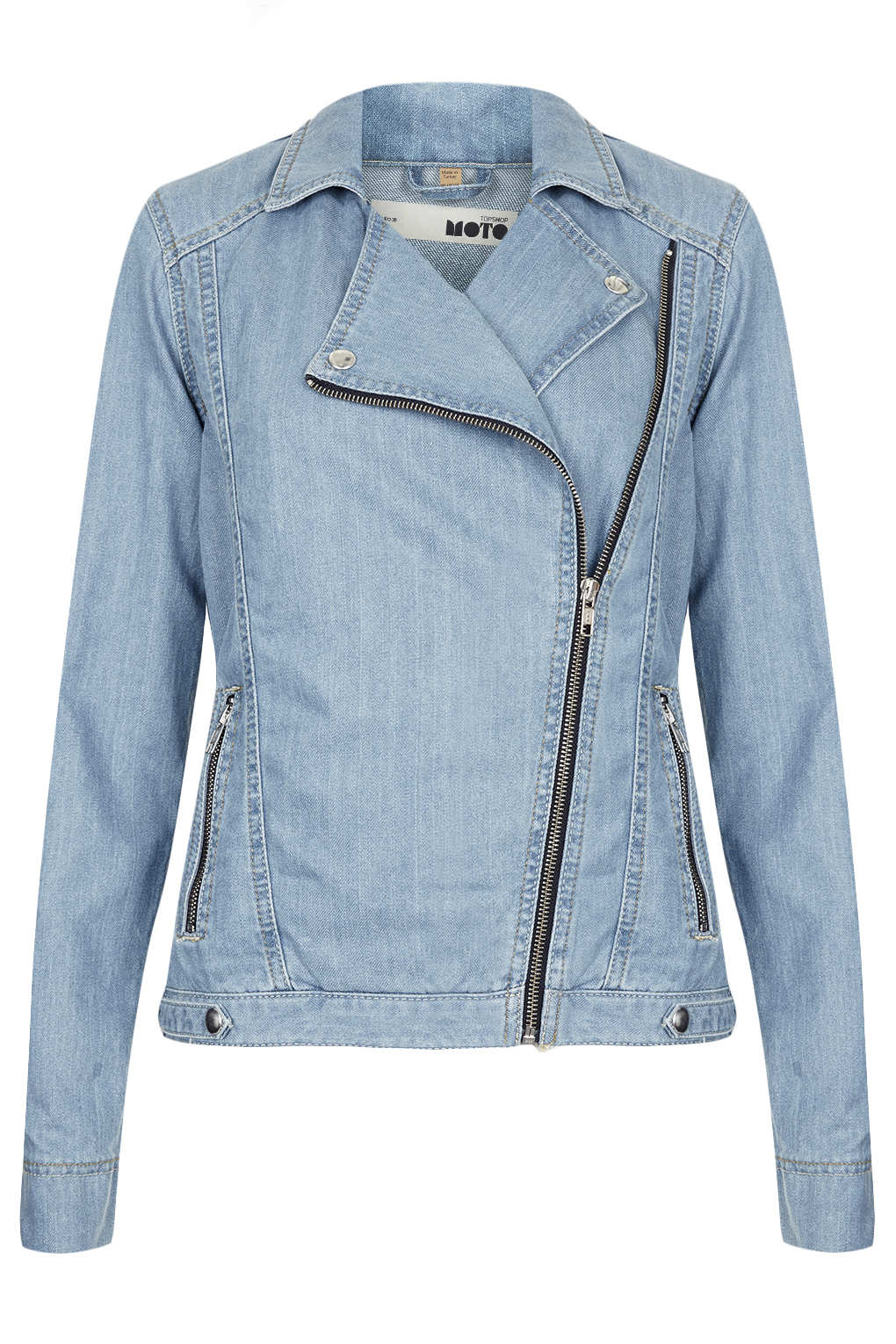 Topshop moto blue denim biker jacket in blue lyst for Womens denim shirts topshop