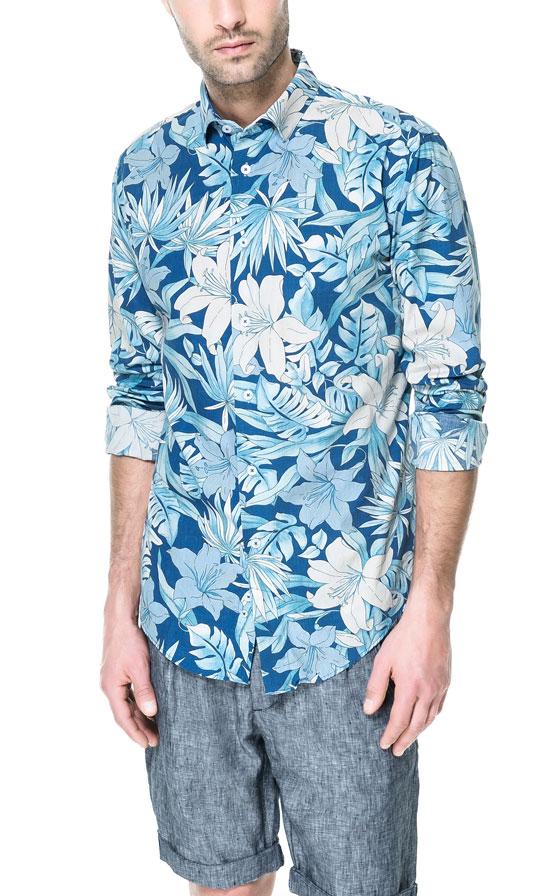 Zara floral print shirt in blue for men lyst for Zara mens shirts sale