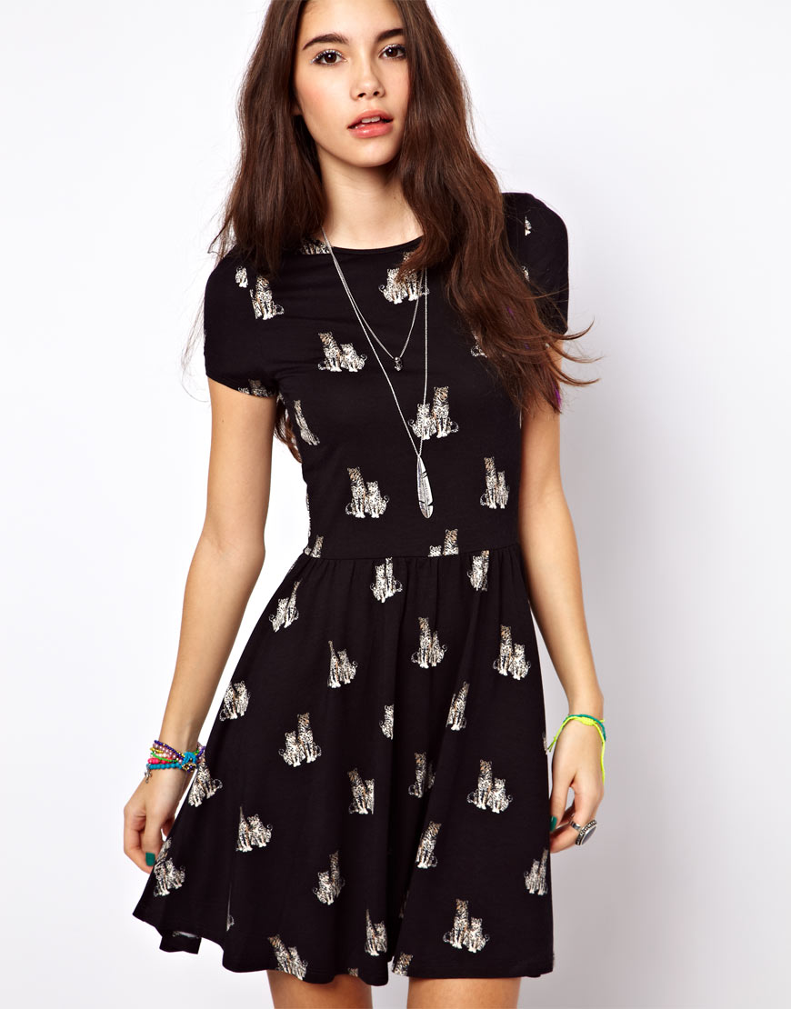 Asos Skater Dress in Cheetah Print in Black | Lyst