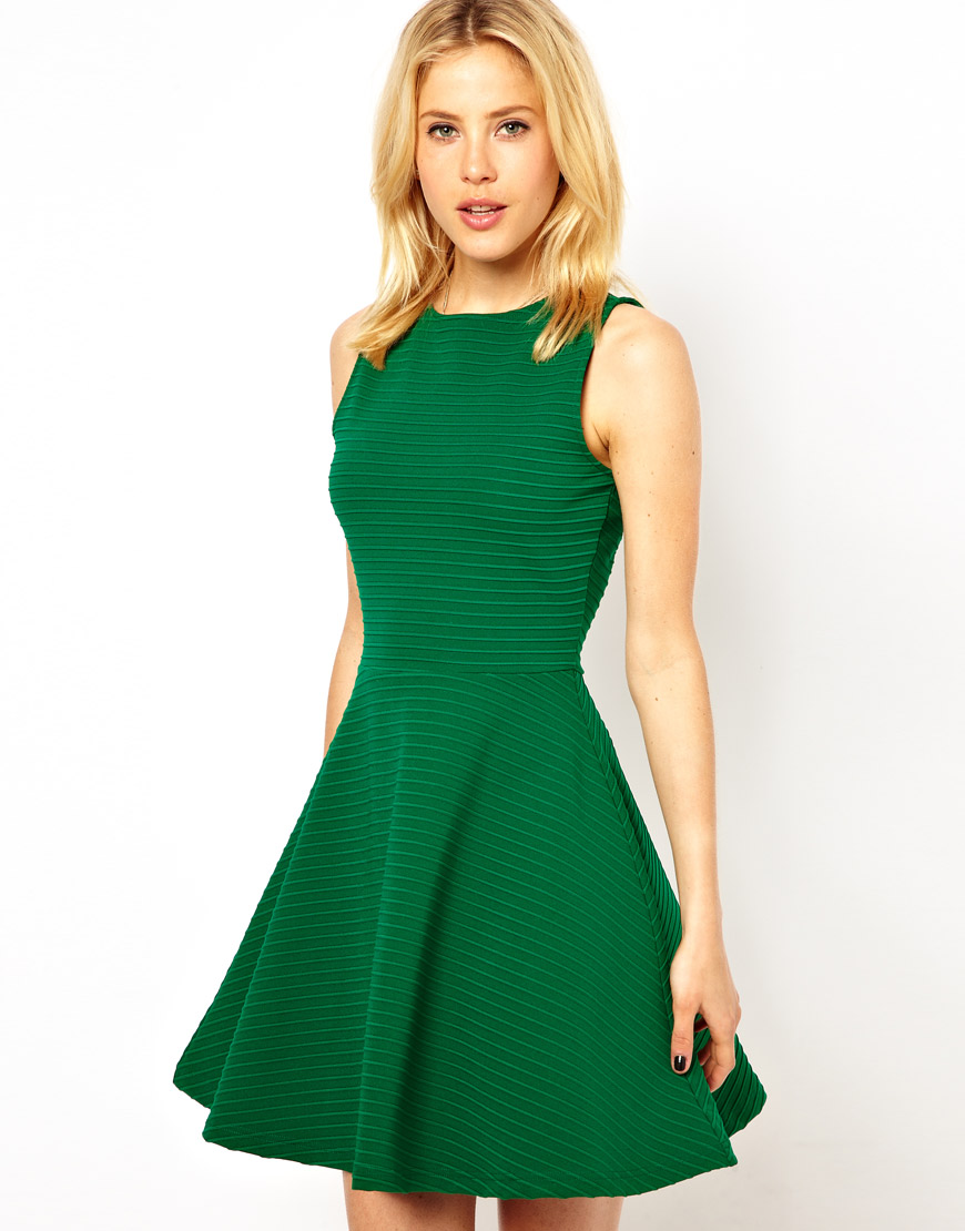 Asos Sleeveless Skater Dress in Ribbed Texture in Green | Lyst
