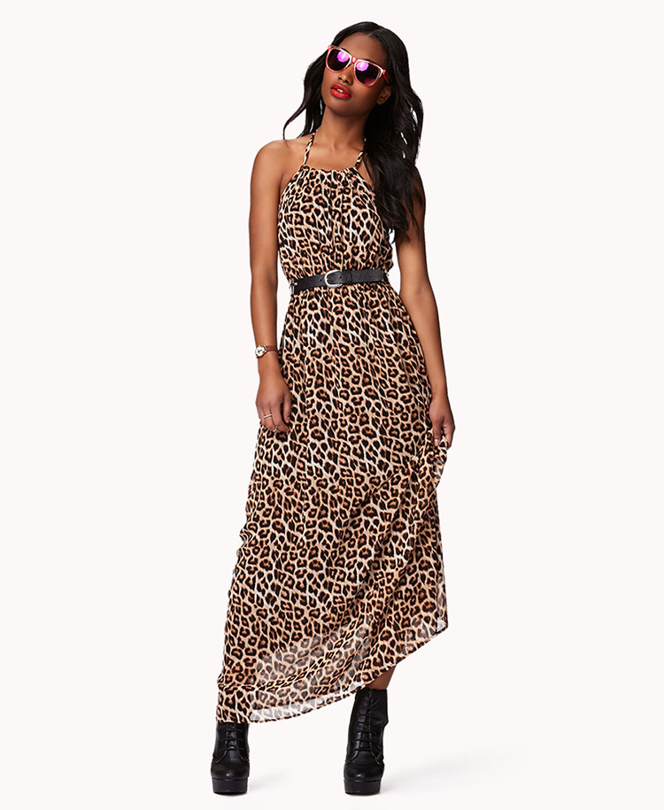 Forever 21 Leopard Print Maxi Dress in Brown  Lyst