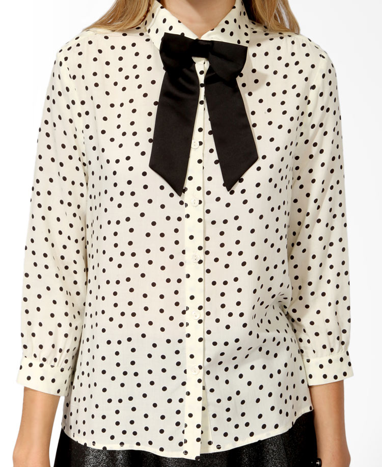 Lyst Forever 21 Polka Dot Shirt W Bow Tie In Natural
