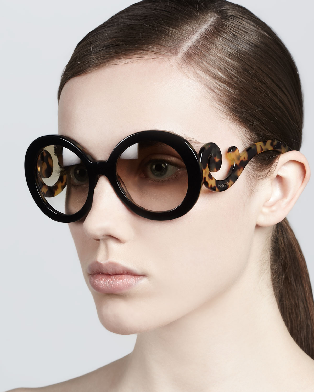 81ffc83185 Lyst - Prada Baroque Round Sunglasses in Brown