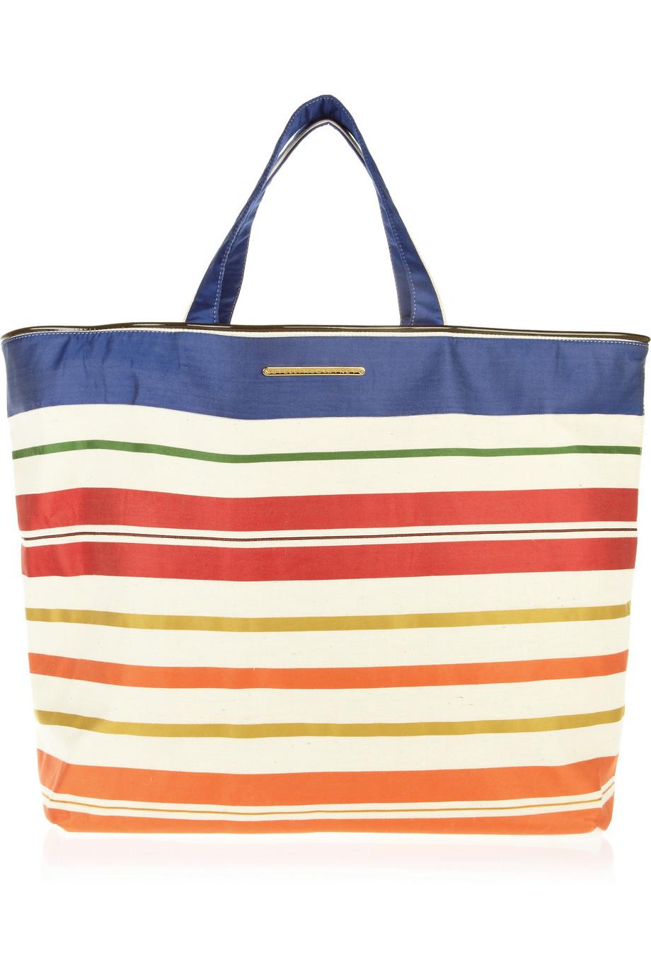 Stella mccartney Vanessa Striped Cotton Beach Bag in Blue | Lyst