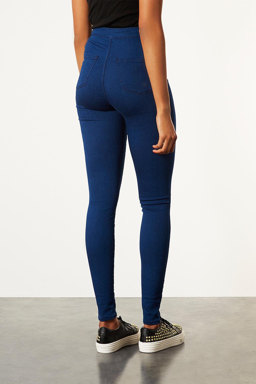 Lyst Topshop Tall Moto Joni Jeans In Blue
