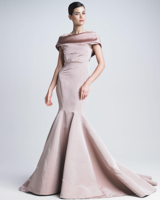 Lyst - Zac Posen Silk Faille Mermaid Gown in Purple