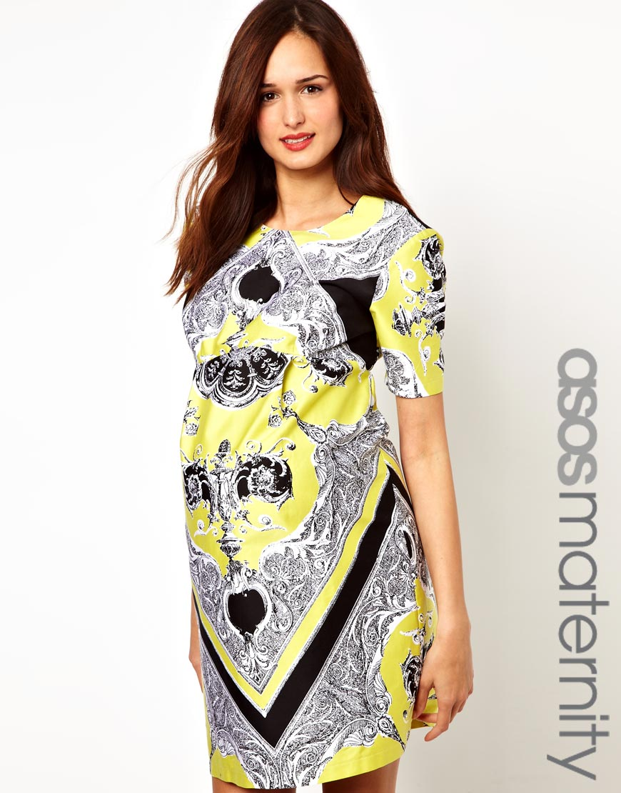 Asos dress in blocked scarf print in yellow lyst gallery ombrellifo Images