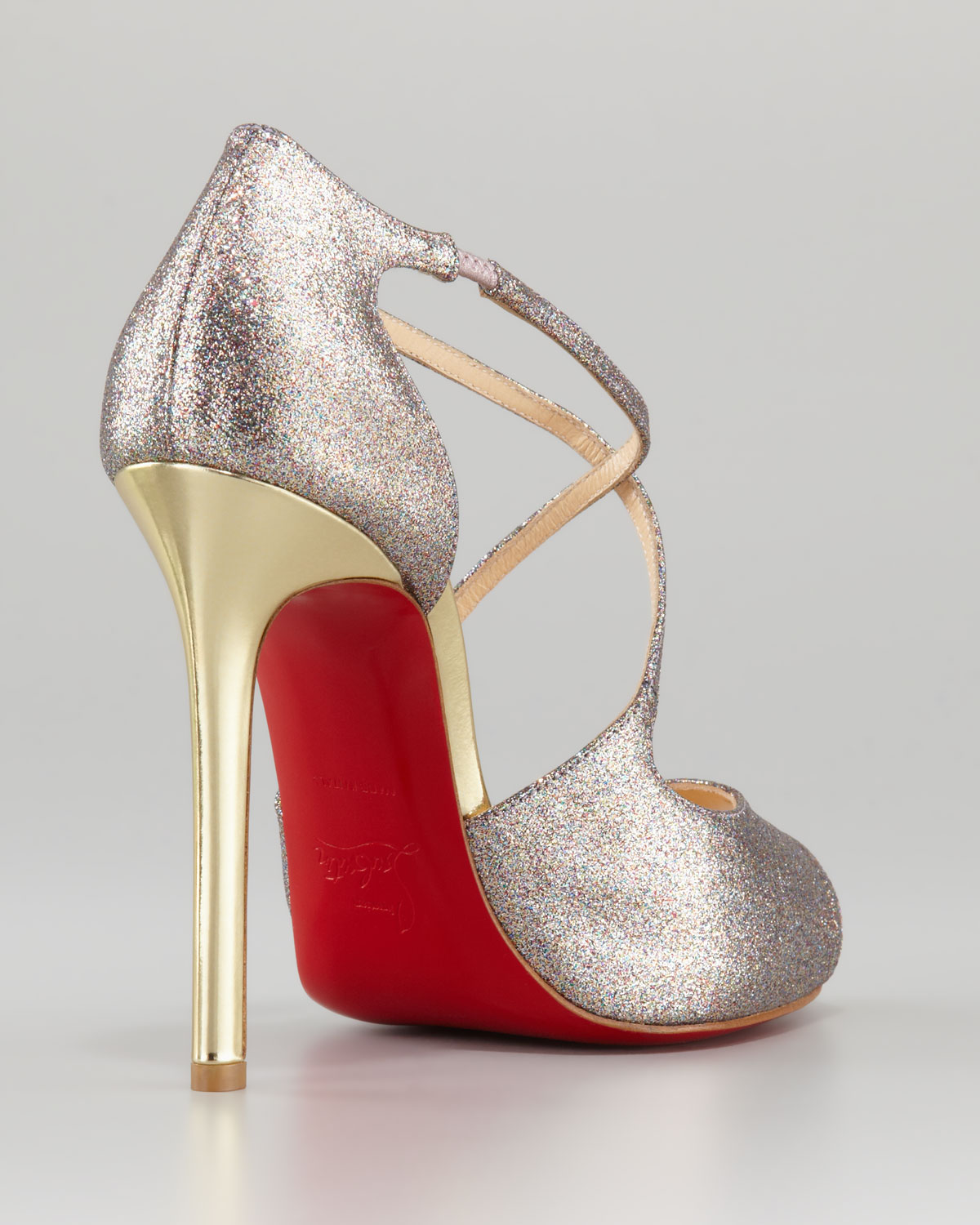red spiked shoes - Christian louboutin Wrap Glitter Peeptoe Red Sole Pump in Gold ...