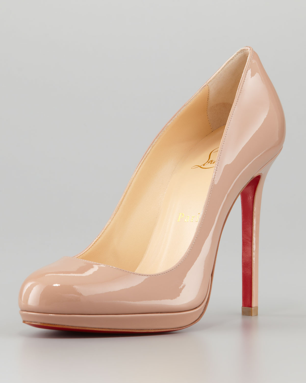 09f8b091eaf3 Christian Louboutin - Natural Neofilo Patent Roundtoe Red Sole Pump Nude -  Lyst