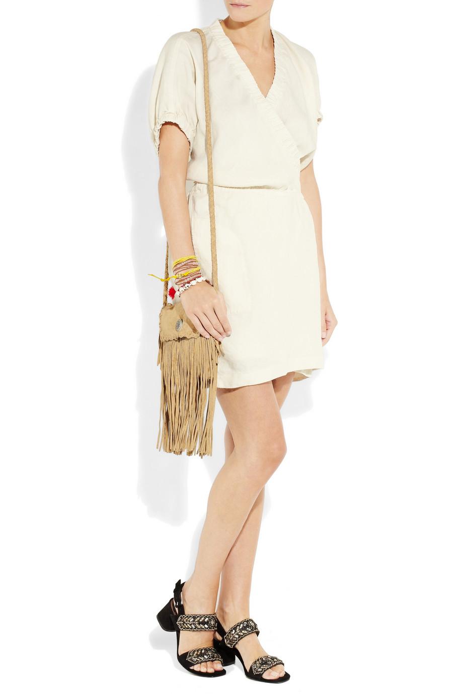 2d7372ea80 Étoile Isabel Marant Iga Linen-blend Wrap Dress in White - Lyst