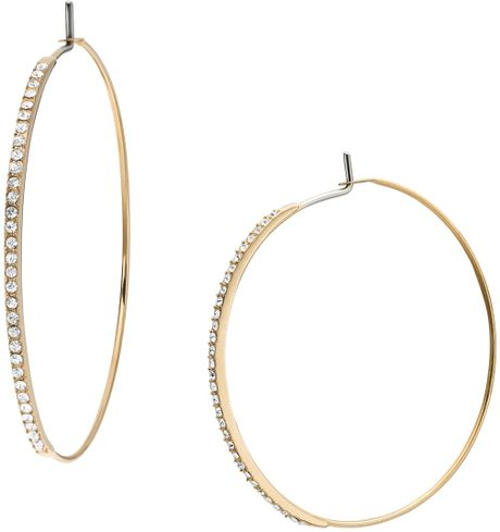 michael kors gold hoop earrings michael kors pave whisper hoop earrings in gold lyst 3607