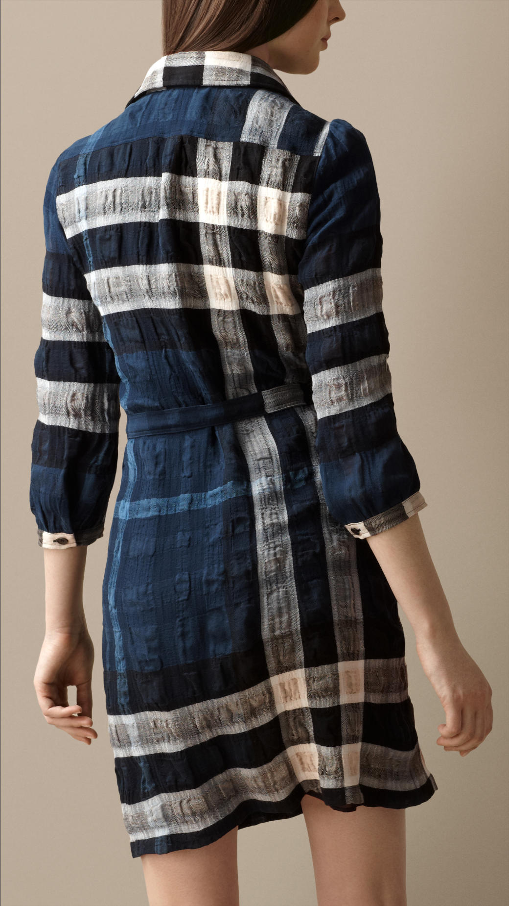 Lyst Burberry Cotton Blend Check Shirt Dress In Blue