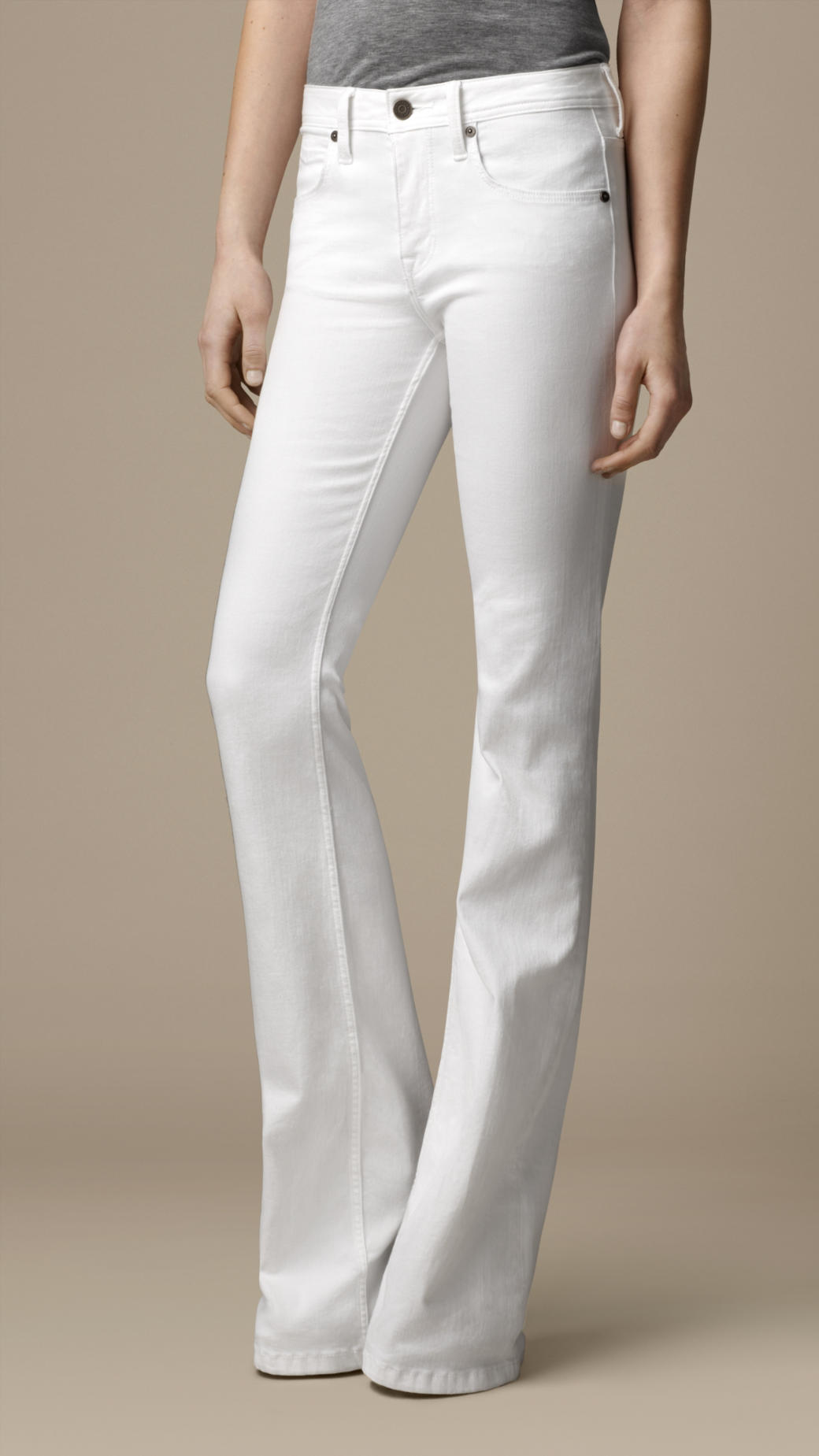 Burberry Hempton Optic White Bootcut Jeans in White | Lyst