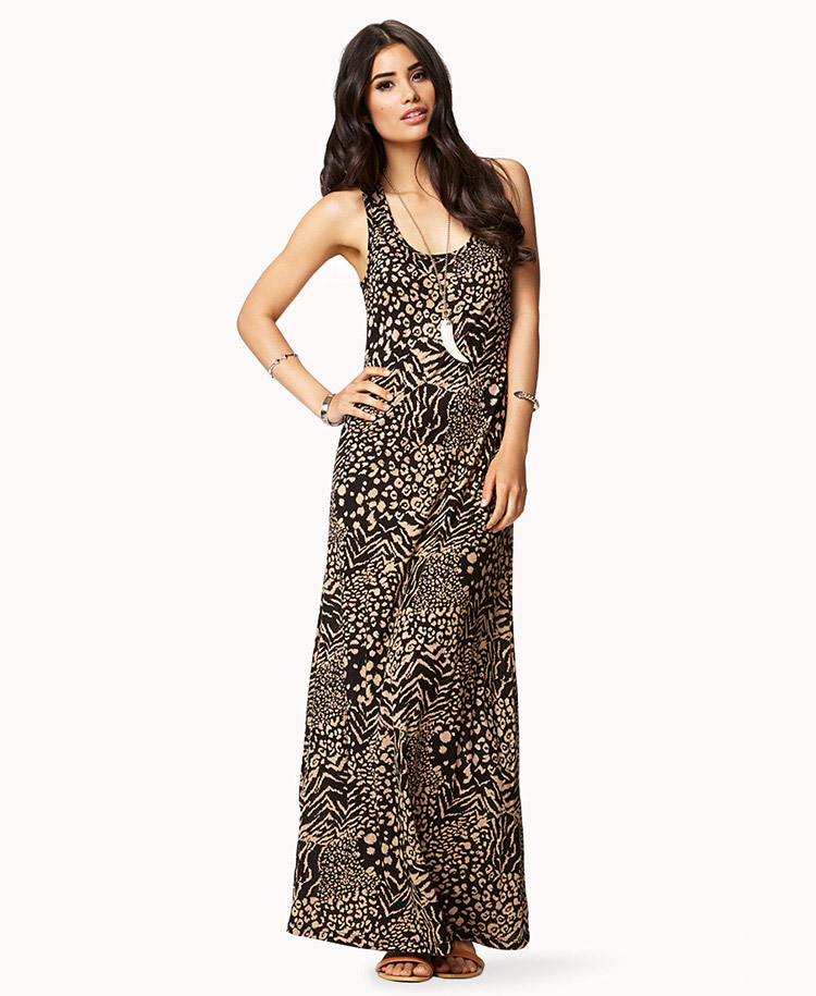 Go for a long, flowing dress to complement the ethereal look of an animal print. Or get the best of both lengths in a high-low hem dress. Cool details like a layered skirt or .
