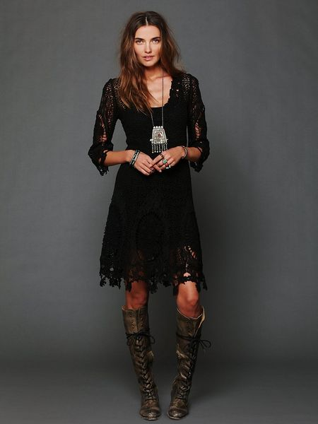 Free People Womens Mi Amore Lace Dress in Black