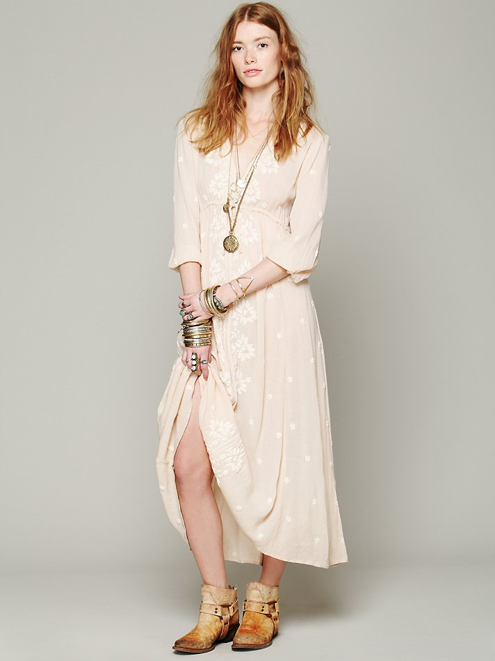Lyst - Free People Embroidered Fable Dress in Natural 0b2bfa56bb