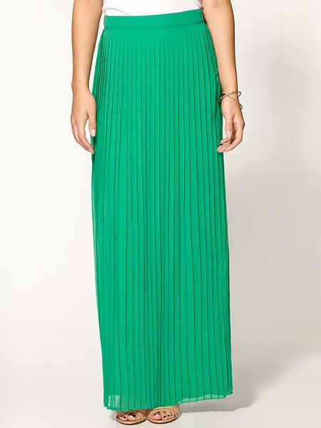 sabine pleated maxi skirt in green green lyst