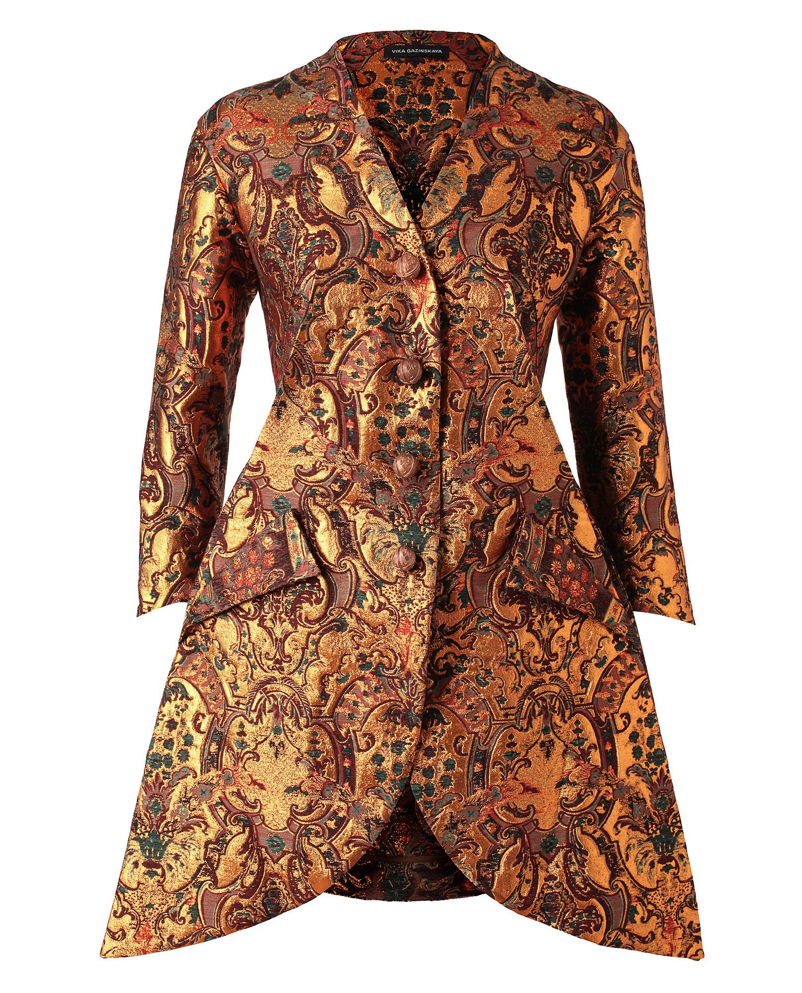 Vika Gazinskaya Tailored Wool Silk Metallic Brocade Jacket ...