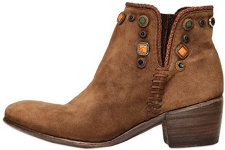 Alberto Fasciani 50mm Maya Suede Beaded Boots in Brown (camel) - Lyst