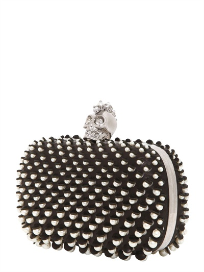 Black Leather Pearl Clutch Alexander McQueen DJL6G5