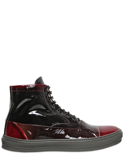 Lyst Alexander Mcqueen Two Tone Patent High Top Sneakers