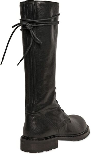 Ann Demeulemeester Tall Leather Boots In Black For Men Lyst