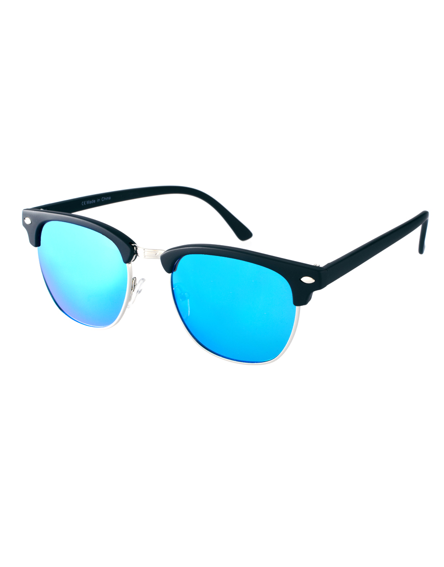 Asos Retro Sunglasses With Blue Mirror Lens In Blue For