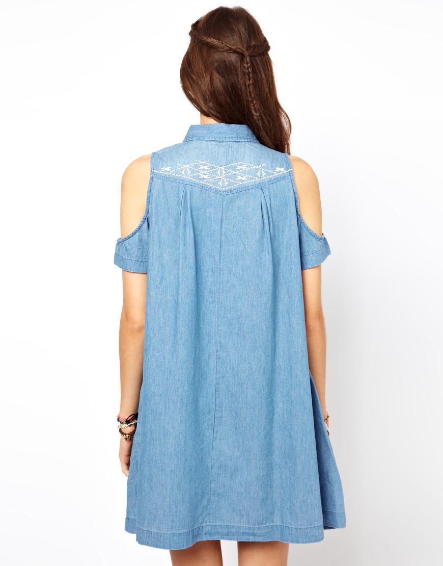 599dfd53ba9 Lyst - Criminal Damage Asos Petite Embroidered Denim Dress with Cold ...