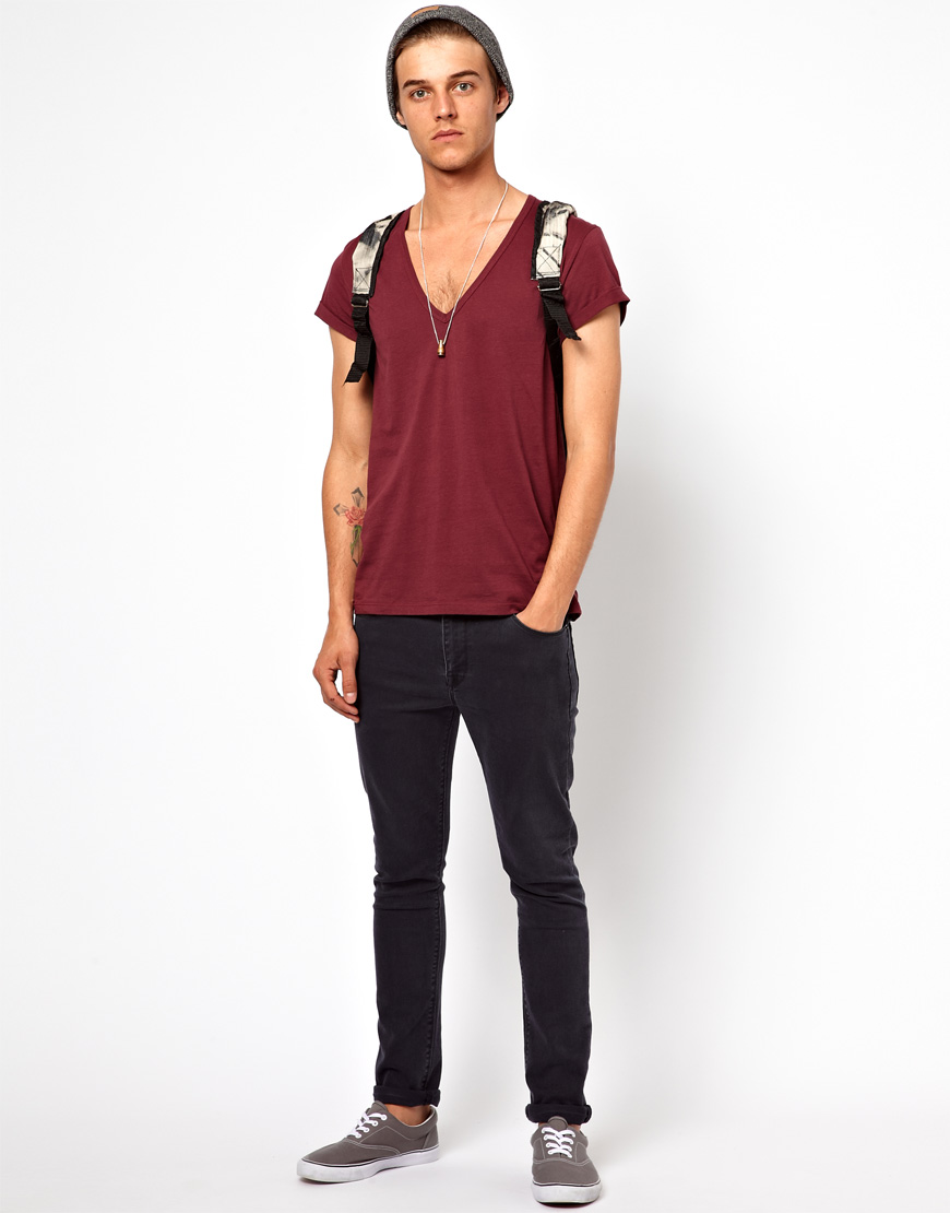 Lyst Asos Tshirt With Deep V Neck And Roll Sleeve In Red