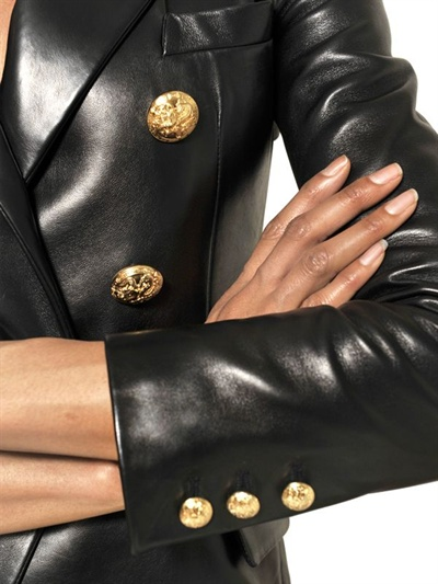 337e804d Balmain Double Breasted Nappa Leather Jacket in Black - Lyst